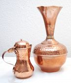 pic of bric-a-brac  - picture opf two oriental turkish copper jugs - JPG
