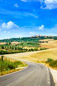 picture of senesi  - Tuscany road to Pienza medieval village on background - JPG
