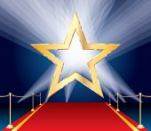 foto of broadway  - vector golden star over red carpet and spotlights - JPG
