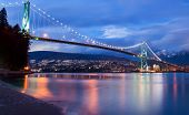 stock photo of inlet  - The lions gate bridge in Vancouver at Dusk - JPG