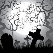 picture of graveyard  - Spooky Halloween cemetery with graveyard trees fog and moon - JPG