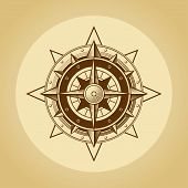 picture of wind-rose  - Wind rose in old retro style - JPG