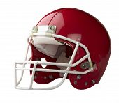 foto of headgear  - Red American football helmet isolated on a white background with detailed clipping path - JPG