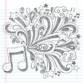 image of heart sounds  - Music Note Back to School Sketchy Notebook Doodles with Music Notes and Swirls - JPG
