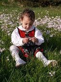 foto of milkmaid  - child sitting in flower field in norwegian dress - JPG