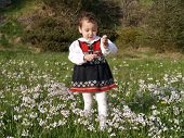 stock photo of milkmaid  - small kid standing in the grass with milkmaids - JPG