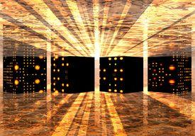 stock photo of supercomputer  - abstract image of a secret underground supercomputer - JPG