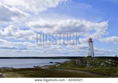 Lighthouse Near Louisbourg, Nova Scotia, Canada