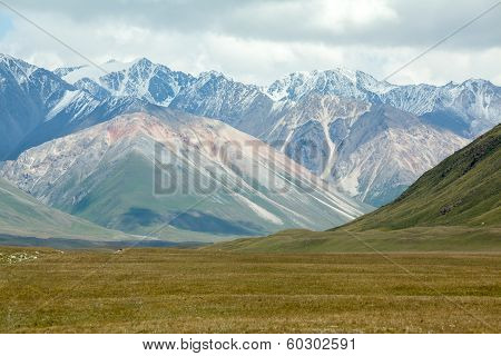 Landscape of high Tien Shan mountains, Kirgizia