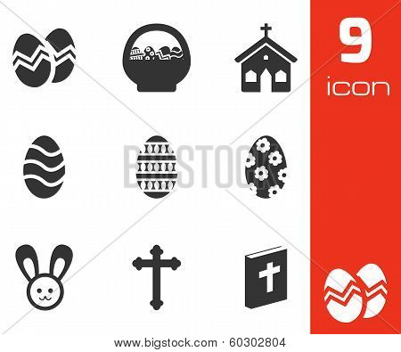 Vector black easter icons set