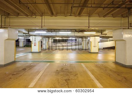 Empty indoor Space in a Parking Lot