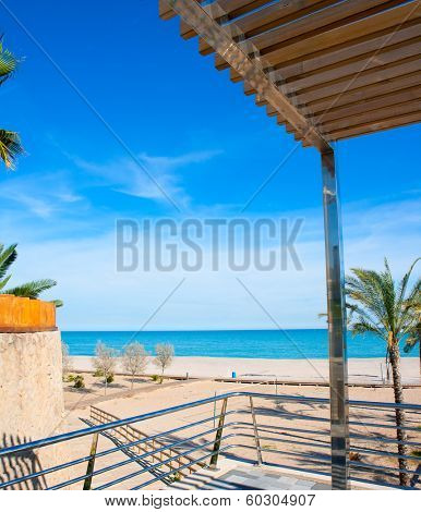 Benicasim in Castellon Benicassim beach with Mediterranean sea of spain