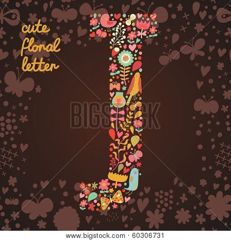 The letter J. Bright floral element of colorful alphabet made from birds, flowers, petals, hearts and twigs. Summer floral ABC element in vector
