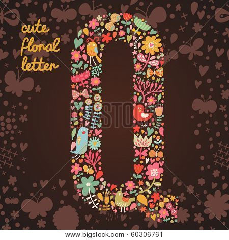 The letter Q. Bright floral element of colorful alphabet made from birds, flowers, petals, hearts and twigs. Summer floral ABC element in vector