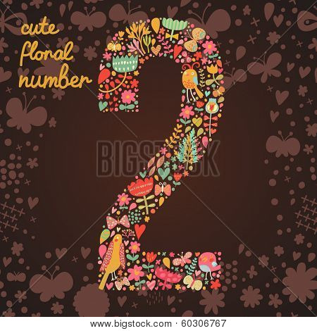 The number 2. Bright floral element of colorful alphabet made from birds, flowers, petals, hearts and twigs. Summer floral ABC element in vector