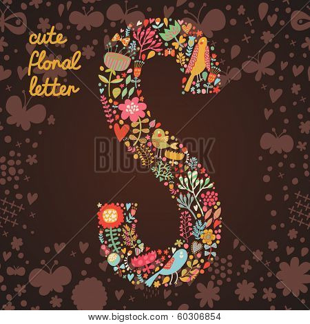 The letter S. Bright floral element of colorful alphabet made from birds, flowers, petals, hearts and twigs. Summer floral ABC element in vector
