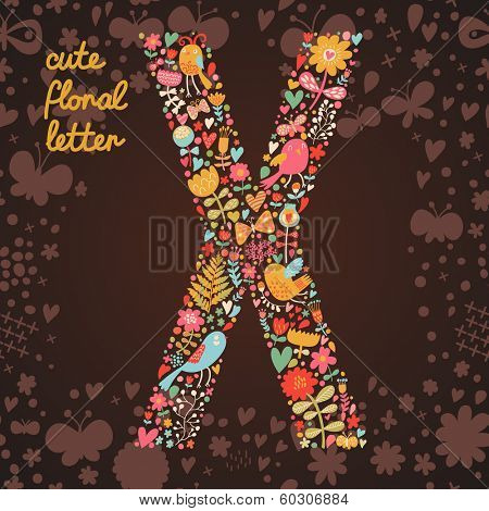 The letter X. Bright floral element of colorful alphabet made from birds, flowers, petals, hearts and twigs. Summer floral ABC element in vector
