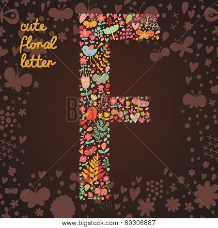 The letter F. Bright floral element of colorful alphabet made from birds, flowers, petals, hearts and twigs. Summer floral ABC element in vector