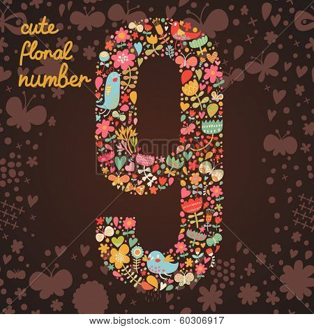 The number 9. Bright floral element of colorful alphabet made from birds, flowers, petals, hearts and twigs. Summer floral ABC element in vector