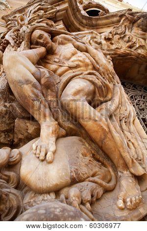 Marques de dos Aguas Palace with alabaster sculptures facade in Valencia Spain