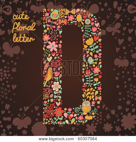 The letter D. Bright floral element of colorful alphabet made from birds, flowers, petals, hearts and twigs. Summer floral ABC element in vector