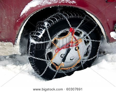 Car Wheel With Snow Chain