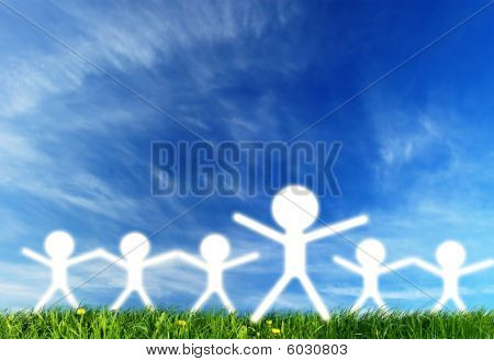 Leader And People Silhouettes