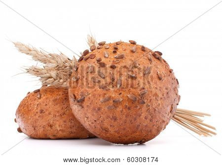 hamburger bun or roll  and wheat ears bunch  isolated on white background cutout