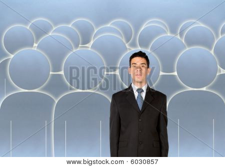 Businessman Amongst A Group Of People
