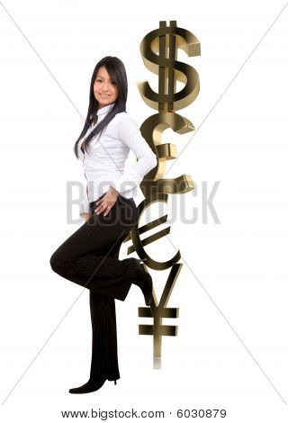 Business Woman Leaning On Currency Symbols