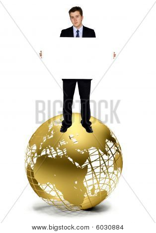 Business Man With A Banner On A Globe