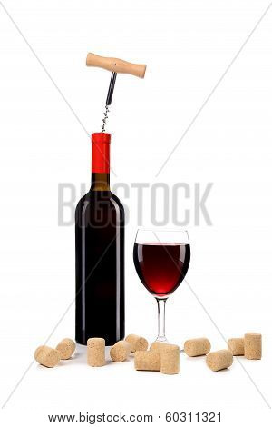 Composition of wine bottle and glass.