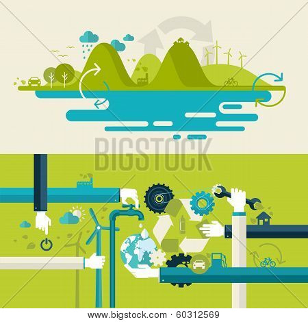 Set of flat design vector illustration concepts for green energy