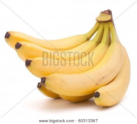 Bananas bunch isolated on white background cutout
