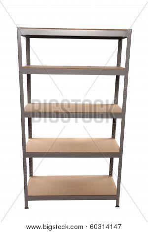 Metal industrial storage shelves.
