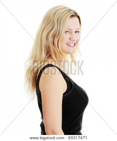 Close-up, portrait of a corpulent woman, isolated on white background