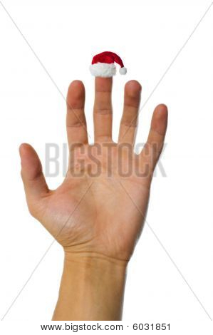 Santa's Red Hat On Finger