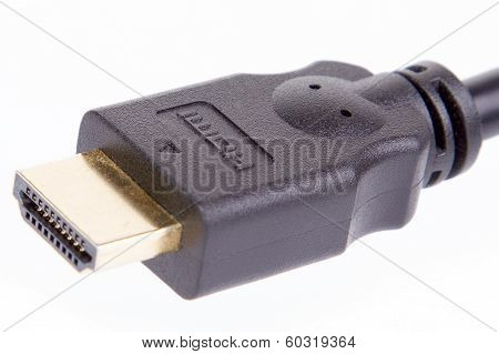 Black Hdmi Cable On Pure White Background
