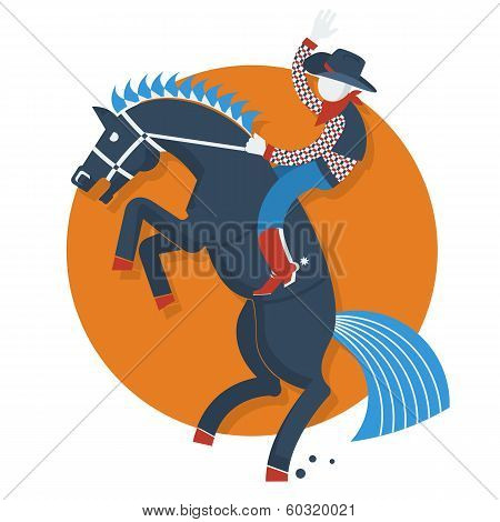 Rodeo Poster.cowboy On Horse With Text Isolated On White