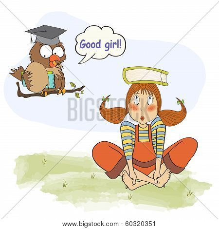 Young Girl Studying With Her teacher, An Owl