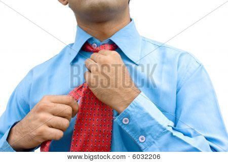 Close-up of  adjusting tie