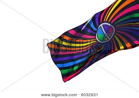 Multi - colored flag against a white background
