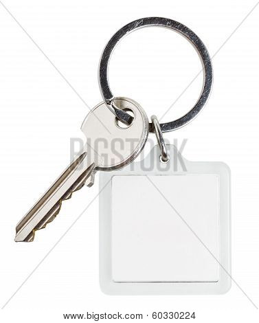 One Cylinder Lock Key And Square Keychain On Ring