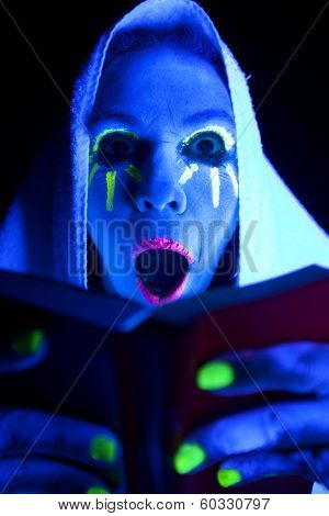 Woman Black Light Book Mouth Open