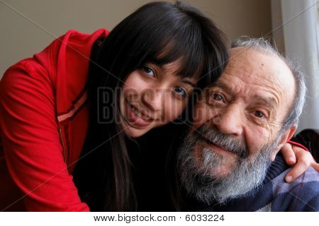 Senior man and her granddaughter