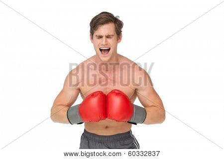 Muscly man wearing red boxing gloves and shouting on white background