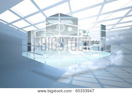 Interface on abstract screen against room with holographic cloud