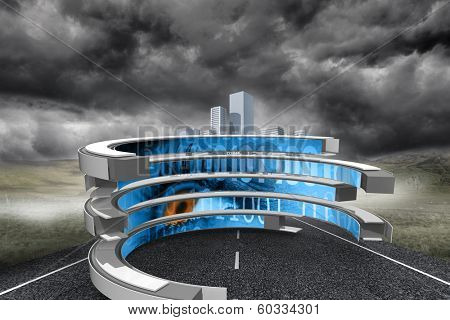 Binary code on abstract screen against cityscape on stormy landscape background