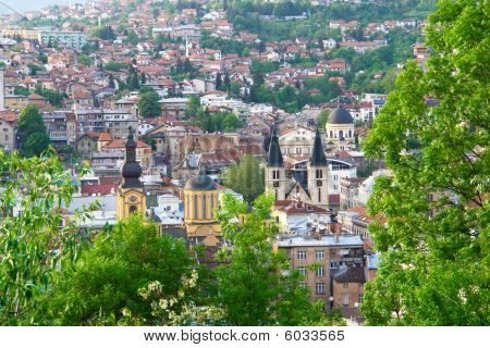 Sarajevo, the capital city of Bosnia and Herzegovina, landscape view