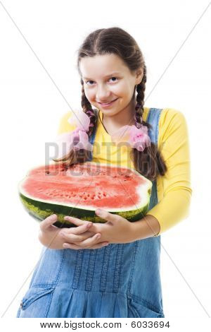 Happy Teenager Girl Holding Half Of Watermelon